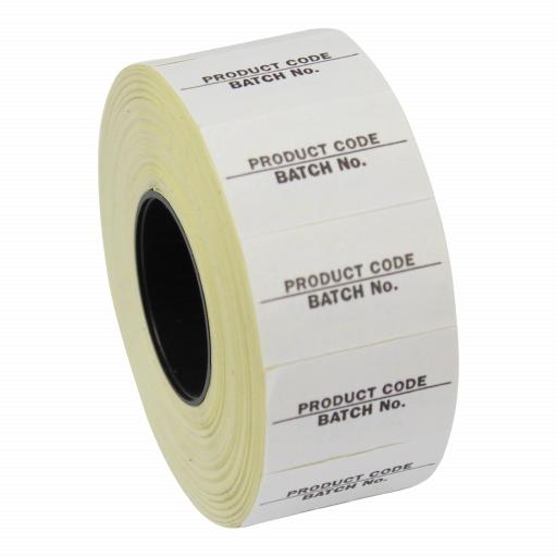 CT7 Product Code / Batch No 26x16mm Price Gun Labels