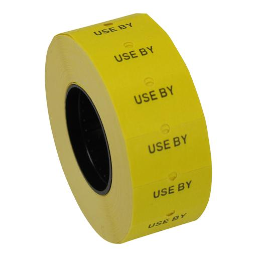 CT1 Yellow Use By 22x12mm Labels