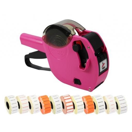 Motex 2612 6 Band Pricing Gun Printed Label Starter Pack in Pink